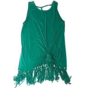 Umgee Teal Fringe Top or Swim Cover Medium